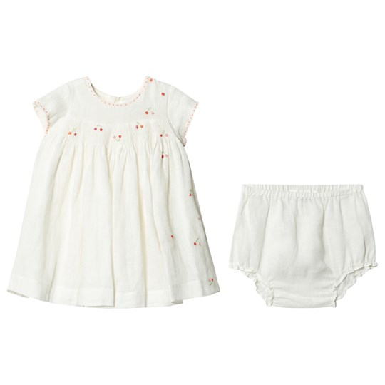 Bonpoint Cherry Dress Embroidered Smocked Linen 102