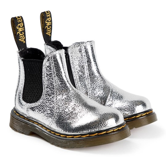 Dr. Martens 2976 Crinkle Metallic Chelsea Boots Silver 040