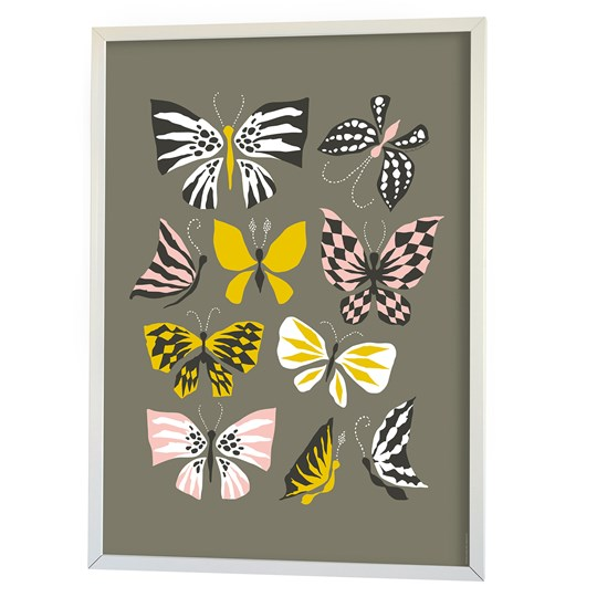 Littlephant Poster, Butterfly Family, Grey Black