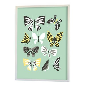 Image of Littlephant Poster, Butterfly Family, Aqua One Size (856989)