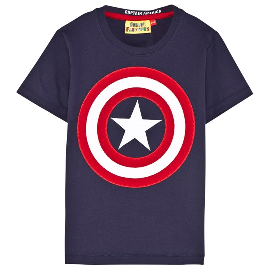 Fabric Flavours Navy Captain America Applique Tee Marinblå