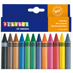 Playbox 12-Pack Chunky Wax Crayons Multicolor