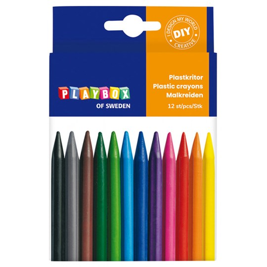 Playbox 12-Pack Plastic Crayons Multicolor