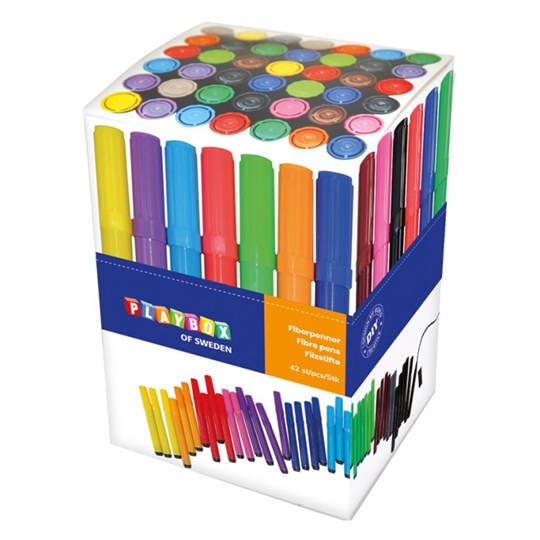 Playbox 42-Pack Chunky Felt Tip Markers Multicolor