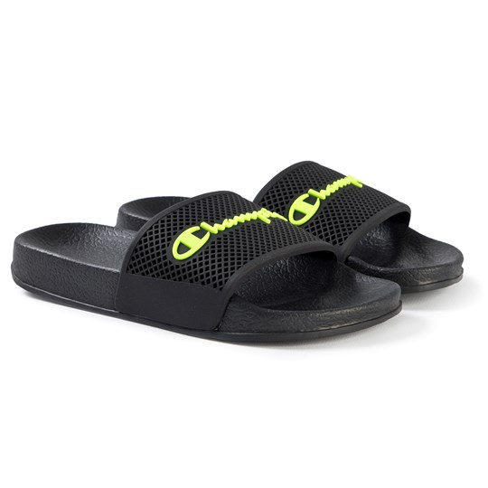 Champion Daytona Slide Sandals Black NBK/FlUO GRN