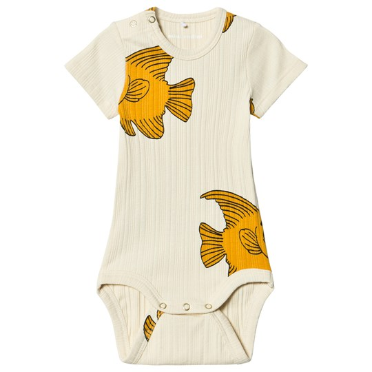 Mini Rodini Fish Baby Body Vit Offwhite