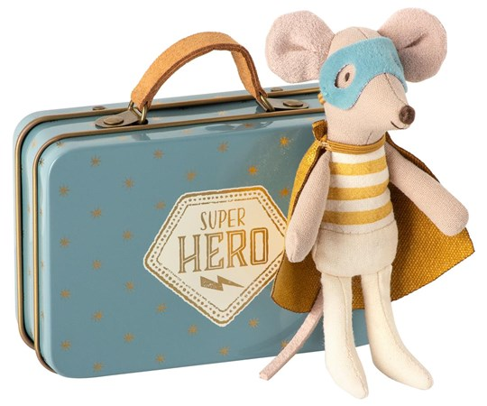 Maileg Superhero Mouse In Suitcase Blue