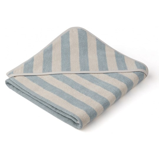 Liewood Louie Hooded Towel Sea Blue/Sandy Stripe Sea blue/sandy