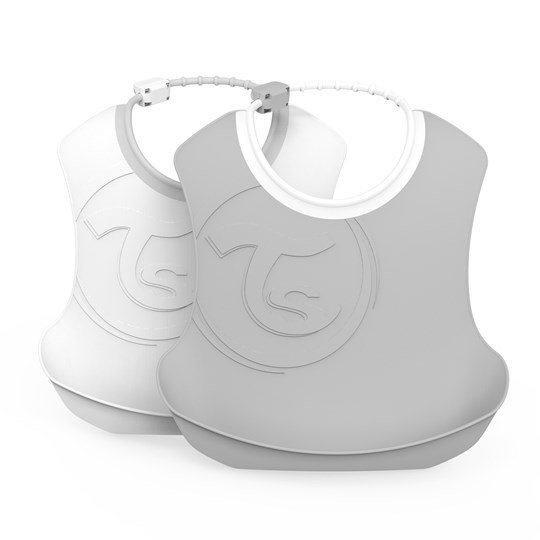 Twistshake 2-Pack Bibs Pastel Grey White