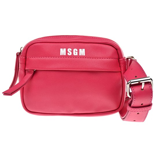 MSGM Pink Faux Leather Zip Front Logo Bumbag 044