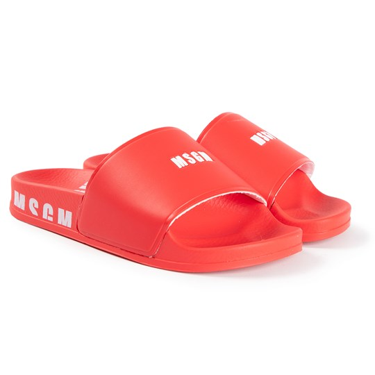 MSGM Logo Slide Sandals Red 040