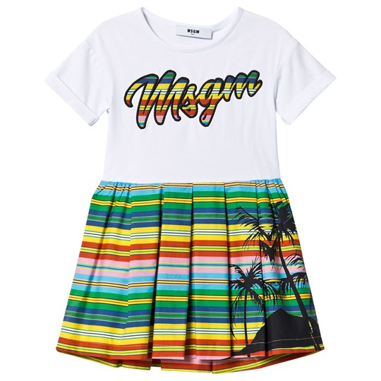 MSGM Branded Palm Tree Dress White 200