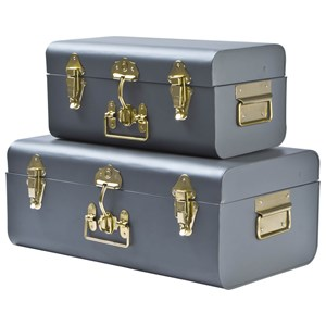 Image of JOX 2-Piece Metal Trunk Set Grey One Size (1149444)