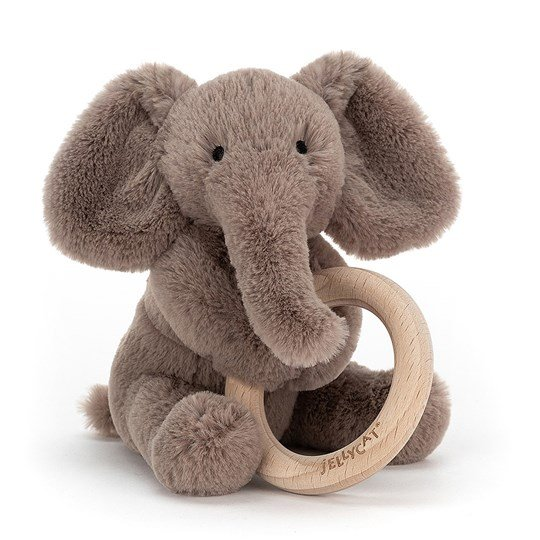 Jellycat Shooshu Elephant Teething Ring Gray Black