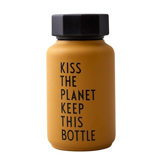 Design Letters Kiss The Planet Thermos Bottle Mustard