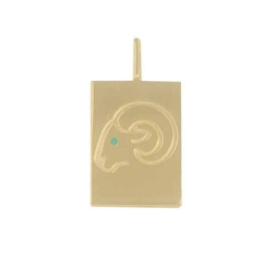 Design Letters Aries Necklace Charm Gold Gold