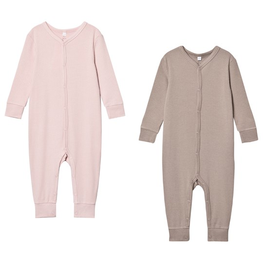 Mori 2-Pack Rib One-piece Pink Blush & Biscuit