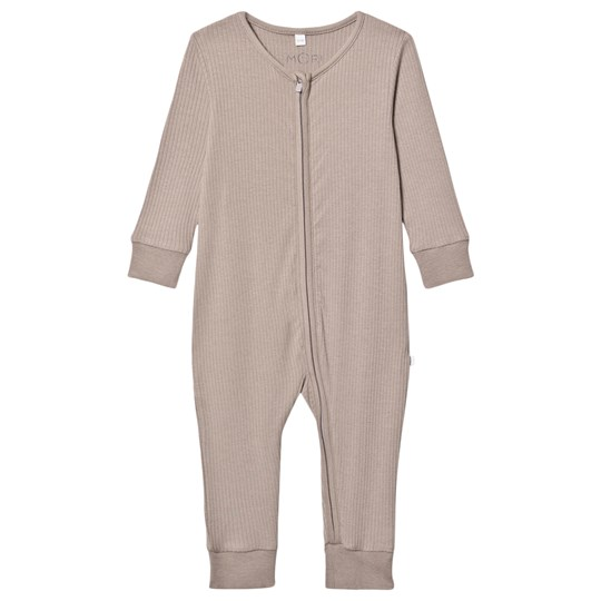 Mori Rib One-piece Taupe Biscuit