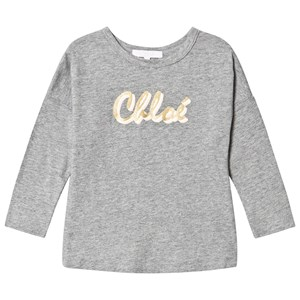 Image of Chloé Glitter Logo Tee Gray 6 years (1620439)
