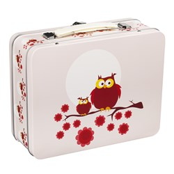 Blafre Owl Tin Lunch Box Pink
