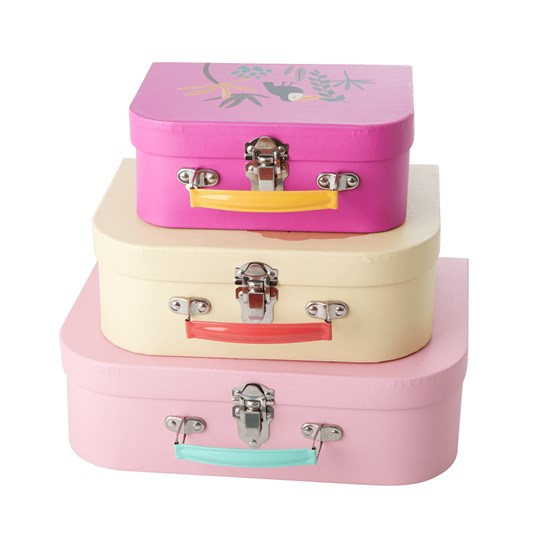 Rice 3-Pack Jungle Animal Suitcase Pink Pink