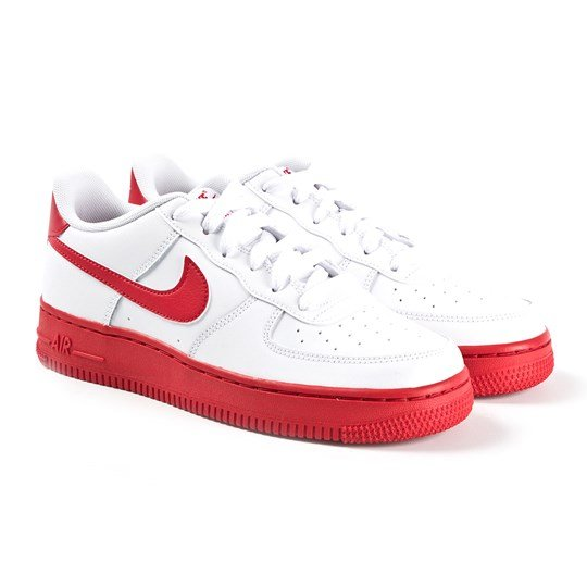 NIKE White and Red Air Force 1 Junior Trainers 102