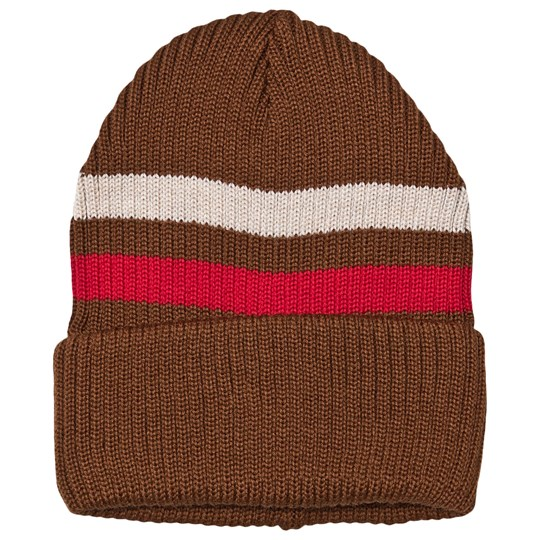 MAINIO Stripe Beanie Camel/Red/Brown Camel/Red/Petrol