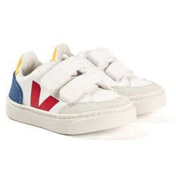 Veja V-12 Velcro Leather Sneakers White/Blue