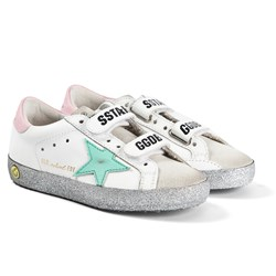 Golden Goose Glitter Star Old School Leather Sneakers White/Pink/Blue