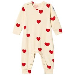 Mini Rodini Hearts Tencel™ One-piece Off-white