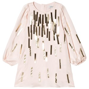 Image of Lanvin Pink and Gold Sequin Bands Silk Dress 10 years (1615879)