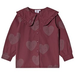 Beau Loves Hearts Wide Collar Bluse Grape