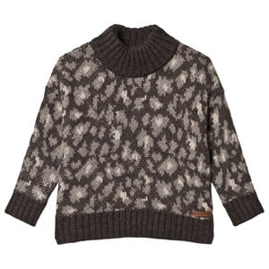 Image of Tocoto Vintage Animal Print Knitted Sweater Dark Brown 10 Years (1661845)