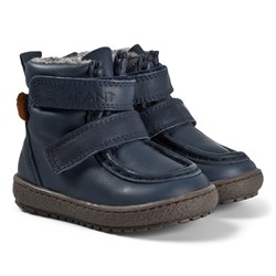En Fant Velcro Tex Leather Winter Boots Navy