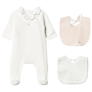 Image of Chloé White Branded Ruffle Collar Babygrow and 2 Bib Gift Box 1 month (1620832)