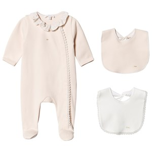 Image of Chloé Pale Pink Branded Ruffle Collar Babygrow and 2 Bib Gift Box 1 month (1620835)