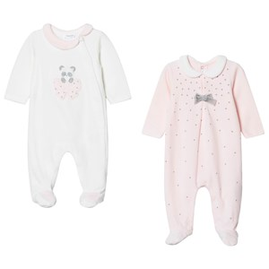 Image of Mayoral 2 Pack of White and Pink Panda Bows Babygrow 6-9 months (1633581)
