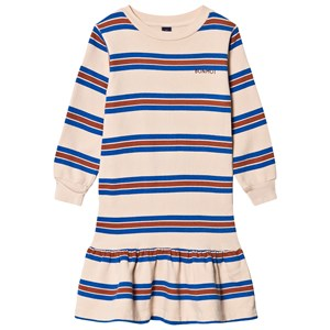 Image of Bonmot Organic Frill Stripes Dress Fog 2-3 år (1642752)