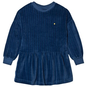Image of Bonmot Organic Velvet Stripes Dress Sea Blue 2-3 år (1642757)