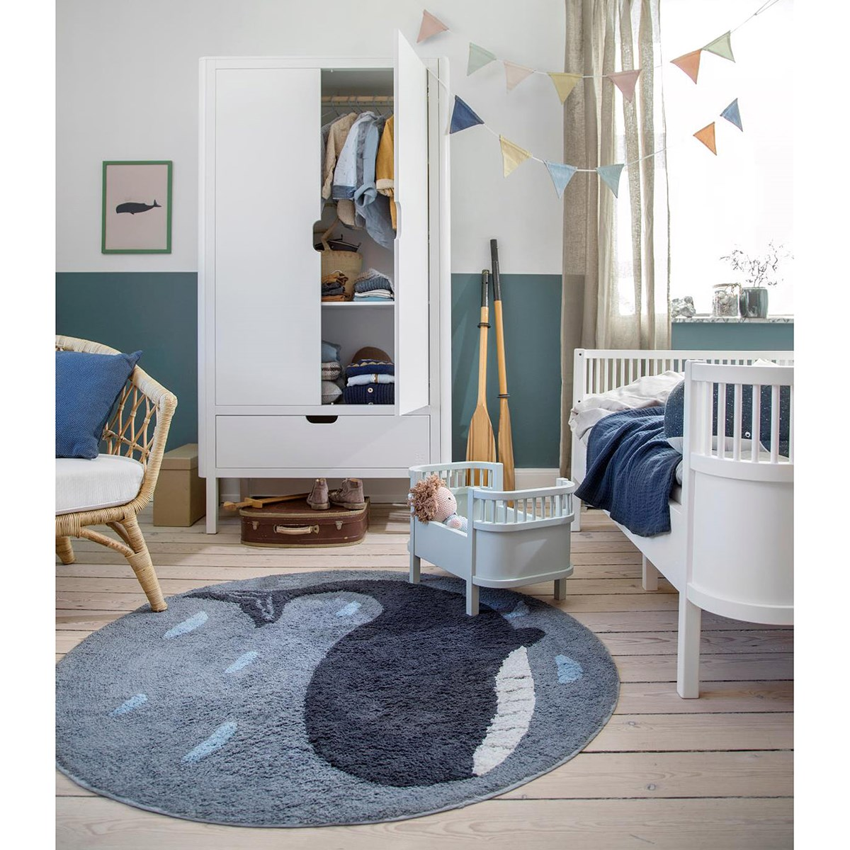 Picture of: Sebra Marion The Whale Woven Taeppe Navyblat Babyshop Dk