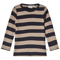Wheat Stripe T-Shirt Midnight Blue