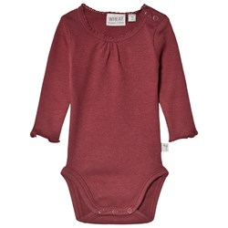 Wheat Rib Lace Baby Body Burgundy