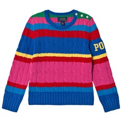 Ralph Lauren Color Block Knit Sweater Pink