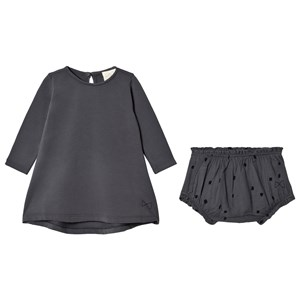 Image of Mini Sibling Baby Dress Charcoal Plain Dress 3-6 mdr (1669960)