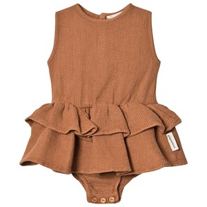 Image of Piupiuchick Honeycomb Dress Baby Body Pecan Nut 12 mdr (1600121)