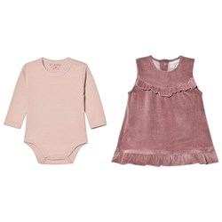 Fixoni Baby Dress Set Rose Taupe