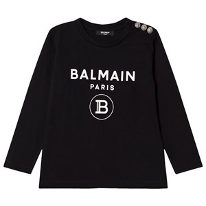 Image of Balmain Black Branded Tee with Button Shoulder 10 years (1615076)