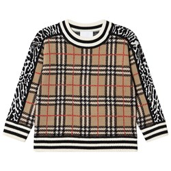 Burberry Check and Leopard Merino Wool Jacquard Sweater Archive Beige
