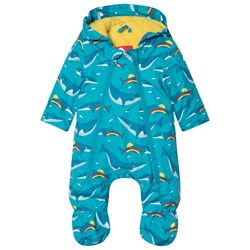 Frugi Navy Recycled Fibre Waterproof Baby Snowsuit in Whale Print