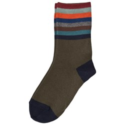 Melton Socks In Cotton With Multicolored Stripes  Dark Olive